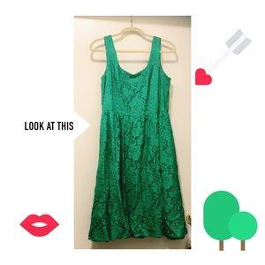 Green empire lace dress